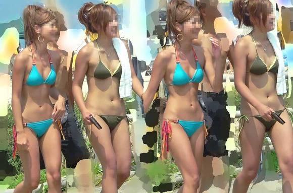 夏まで待てない!エロ目線で見るプールや海のビキニギャルの素人エロ画像 2045
