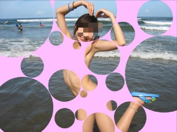 水着姿の素人娘に水玉のガラスコラで素っ裸にしたエロ画像 2143