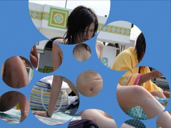 水着姿の素人娘に水玉のガラスコラで素っ裸にしたエロ画像 3109