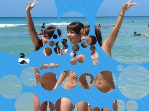 水着姿の素人娘に水玉のガラスコラで素っ裸にしたエロ画像 634