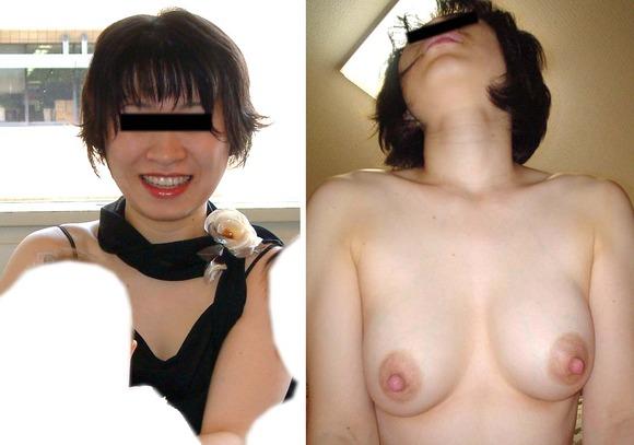 服を着てる時と裸になった時のギャップがエロい素人妻熟女のエロ画像 11121
