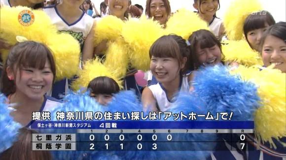 高校野球の応援席ではしゃぐ女子校生チアリーダーのエロ画像 12116
