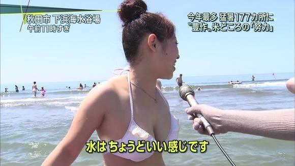 テレビのニュースで報道されたビキニギャルの素人エロ画像 2013