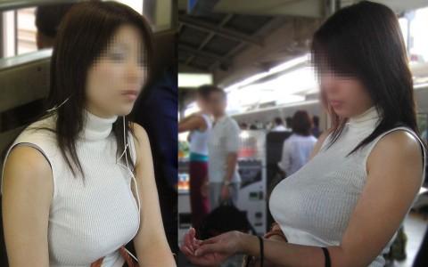 街で見かけた巨乳の素人娘の弾ける着衣おっぱいのエロ画像 202