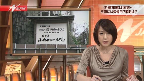女子アナ大島由香里の服から溢れんばかりの着衣巨乳おっぱいエロ画像 2176