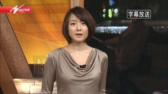 女子アナ大島由香里の服から溢れんばかりの着衣巨乳おっぱいエロ画像 2349