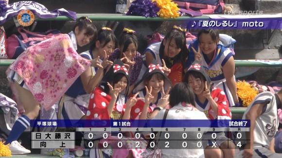 高校野球の応援席ではしゃぐ女子校生チアリーダーのエロ画像 5109