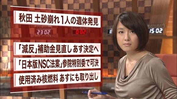女子アナ大島由香里の服から溢れんばかりの着衣巨乳おっぱいエロ画像 749