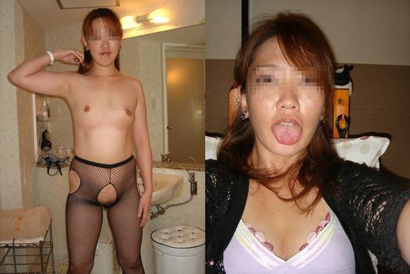 服を着てる時と裸になった時のギャップがエロい素人妻熟女のエロ画像 782