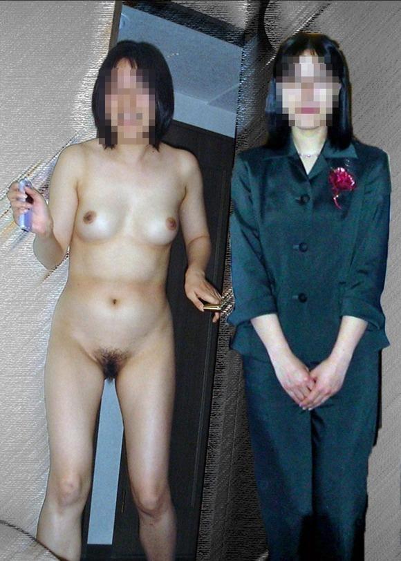 服を着てる時と裸になった時のギャップがエロい素人妻熟女のエロ画像 881