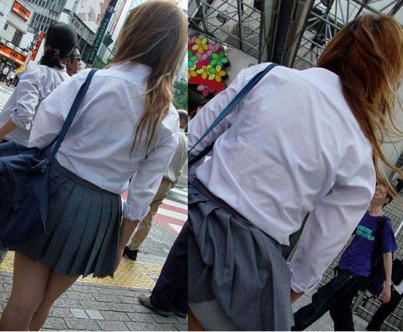 女子校生のワイシャツから透けるブラジャーの素人エロ画像 318