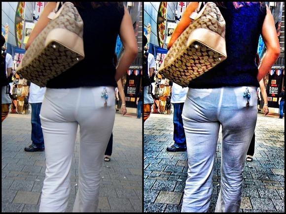 街撮りされた素人娘のお尻を画像補正かけて透けパンツさせてるエロ画像 380