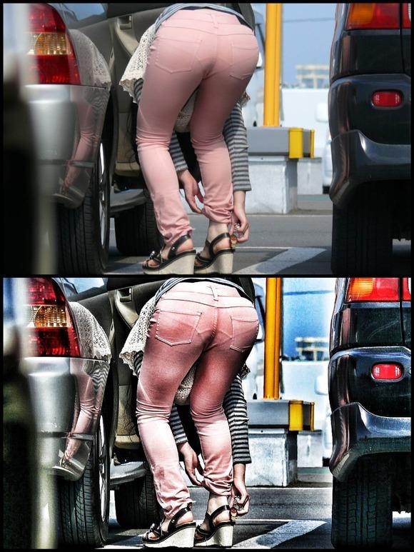 街撮りされた素人娘のお尻を画像補正かけて透けパンツさせてるエロ画像 617