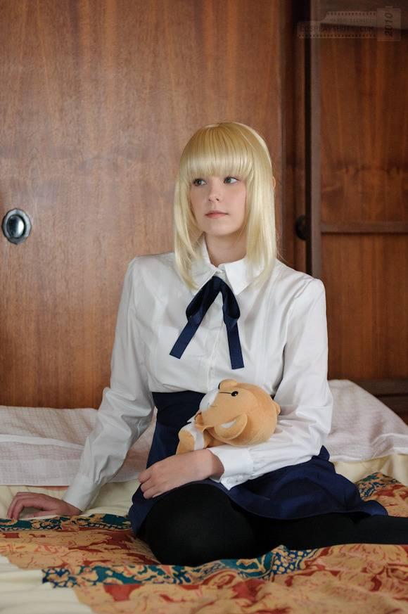 白い素肌とブロンドヘアーの外人美少女がコスプレしてるエロ画像 2424