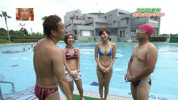 テレビ番組で披露された素人のビキニ姿のキャプエロ画像 732