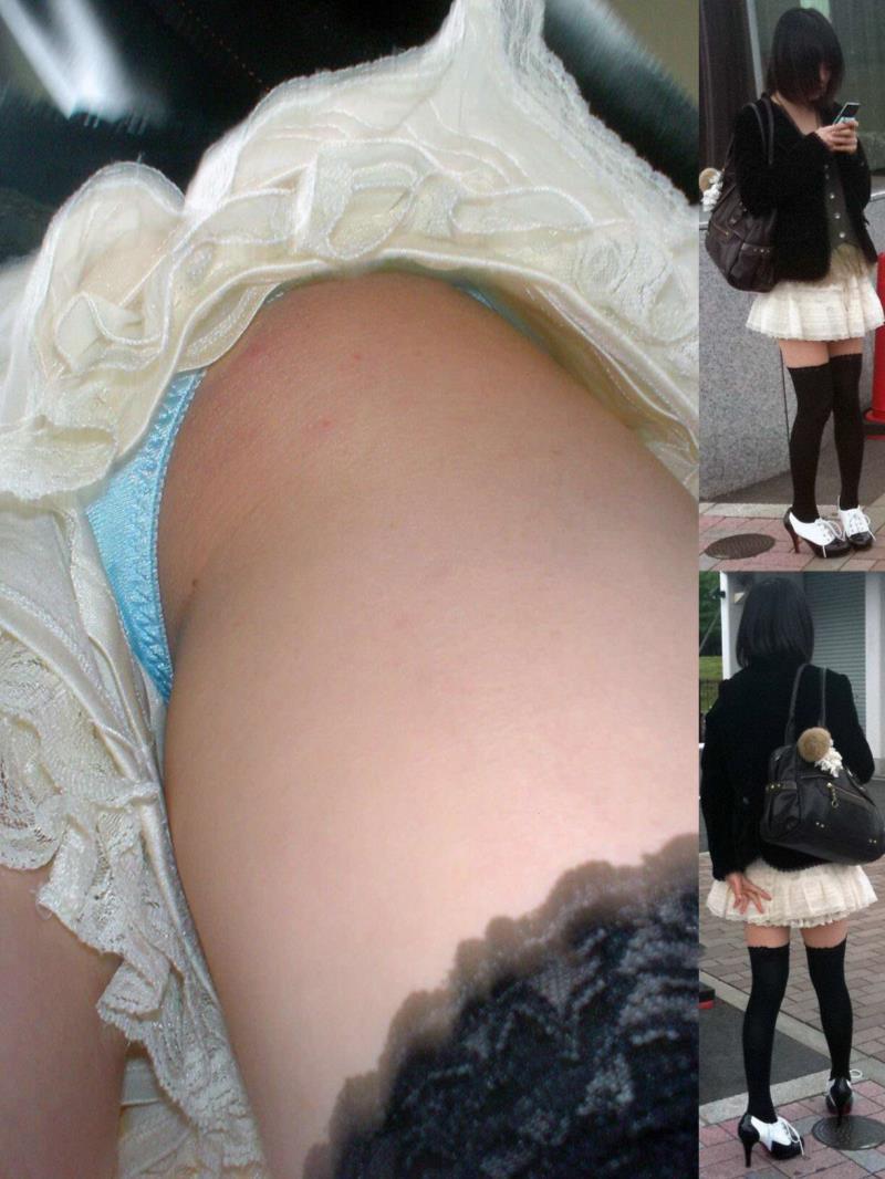 ニーソックス履いた女の子たちの逆さ撮りパンチラ画像 1949