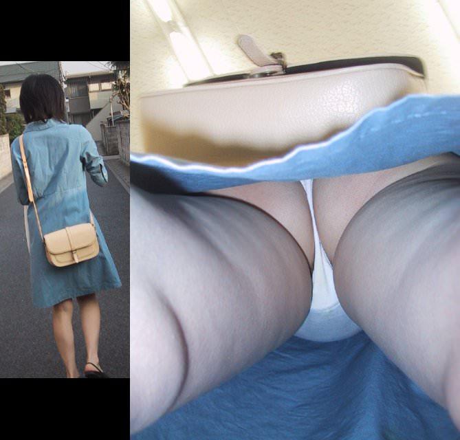 パンツがお尻に食い込んでるTバック尻の逆さ撮りパンチラ画像 2526
