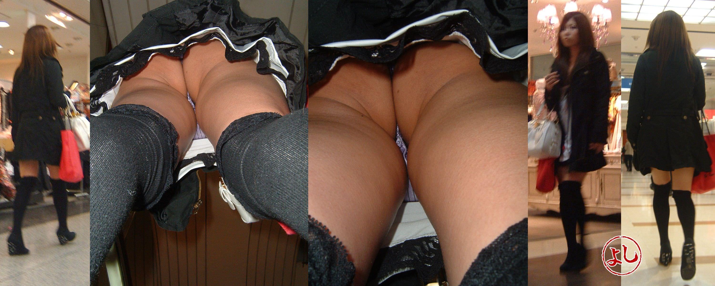 パンツがお尻に食い込んでるTバック尻の逆さ撮りパンチラ画像 3109