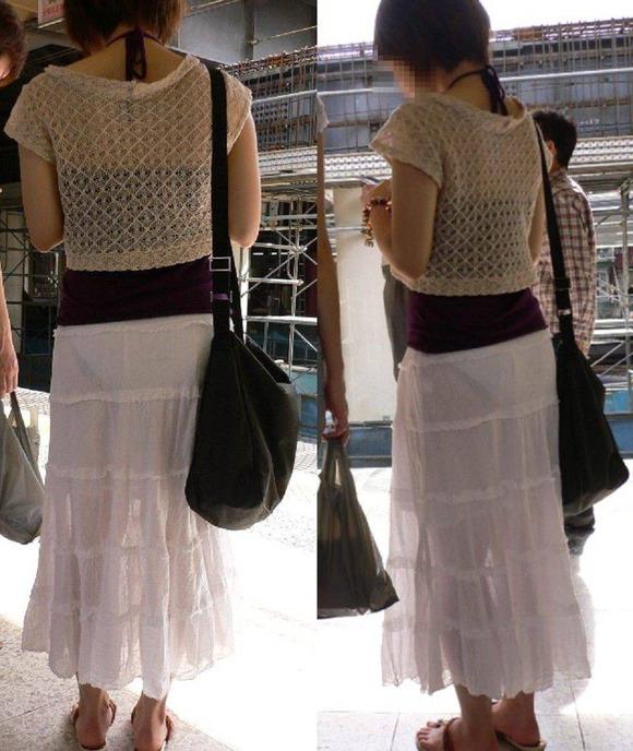 白い生地だからパンツが透けてる素人娘の街撮りエロ画像 337