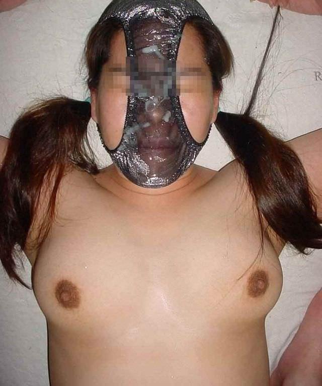 変態仮面の様にまん汁付きパンツを被って興奮してるド変態女のエロ画像 2287