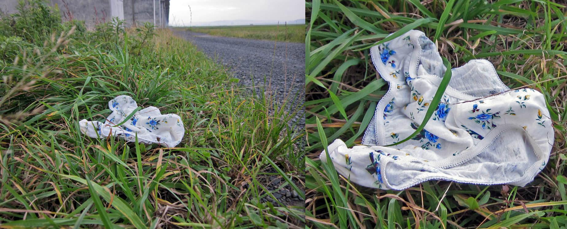 寂しそうに道端に落ちてるギャルのパンティーエロ画像 9117