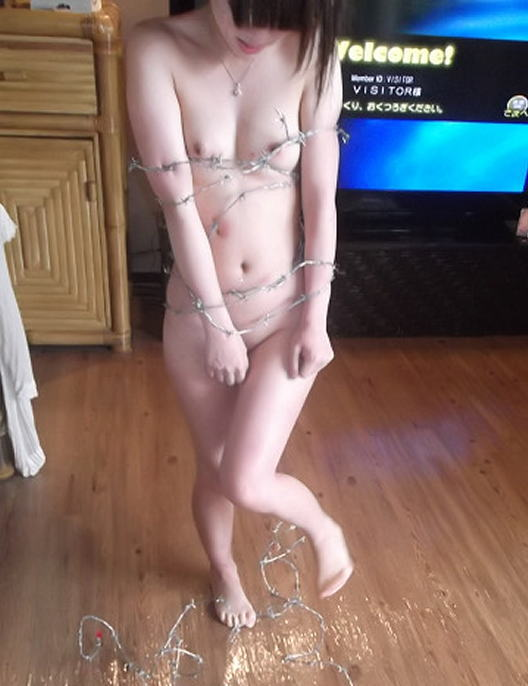 有刺鉄線を体に巻かれてズタズタになってるドM女のヤバイSMエロ画像 144