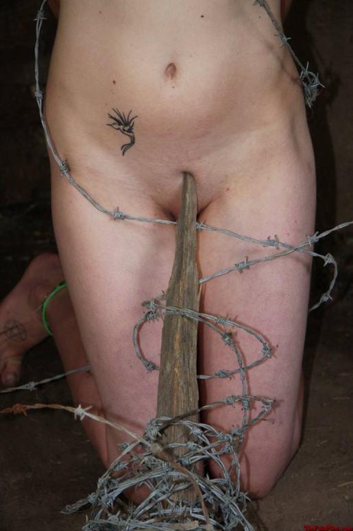 有刺鉄線を体に巻かれてズタズタになってるドM女のヤバイSMエロ画像 164