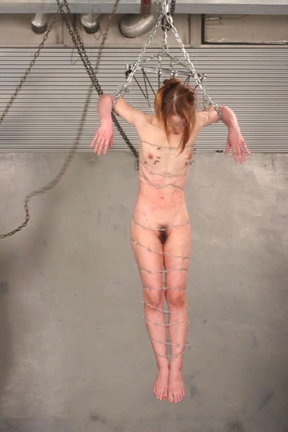 有刺鉄線を体に巻かれてズタズタになってるドM女のヤバイSMエロ画像 183