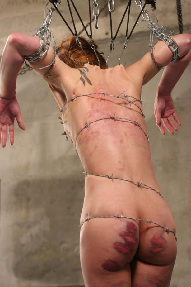 有刺鉄線を体に巻かれてズタズタになってるドM女のヤバイSMエロ画像 193