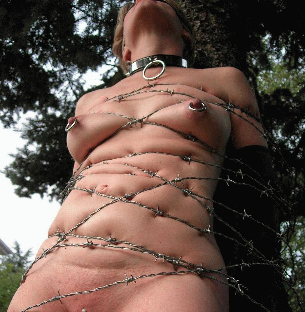 有刺鉄線を体に巻かれてズタズタになってるドM女のヤバイSMエロ画像 210