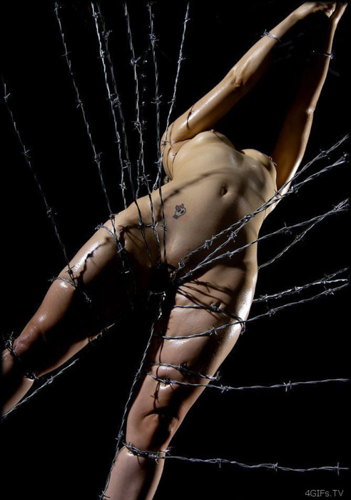 有刺鉄線を体に巻かれてズタズタになってるドM女のヤバイSMエロ画像 84