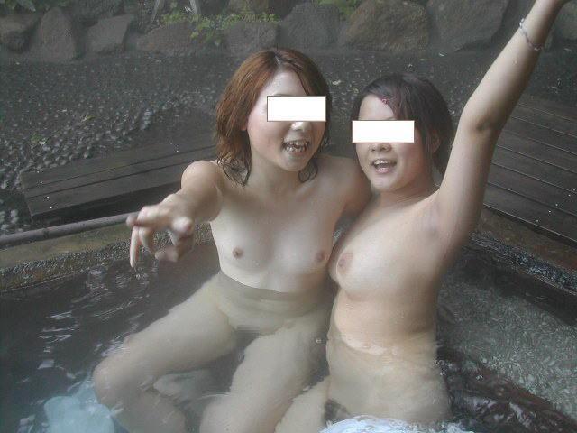 女子同士の温泉だから女体を晒すのに抵抗がない女の裸がネット流出したエロ画像 47