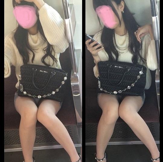 電車の中で正面にスカートが短い子がくるパンチラ撮られるwwwww 2146 1