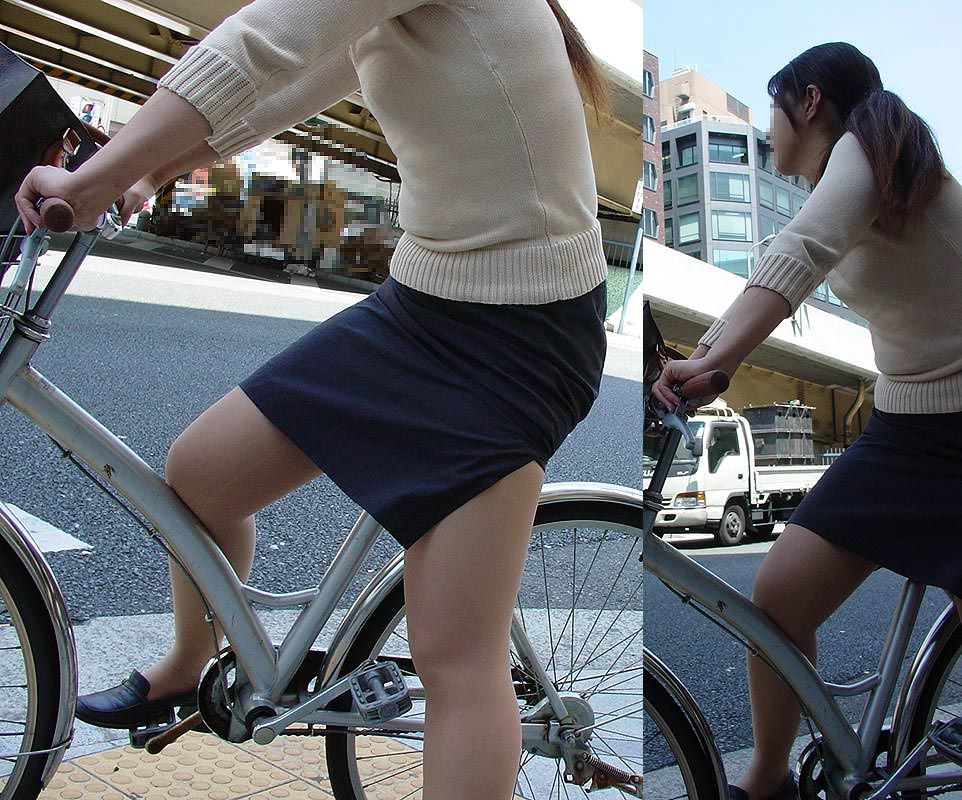 自転車を漕ぐ太ももの汗の匂いが気になる素人OLの街撮りエロ画像 1629