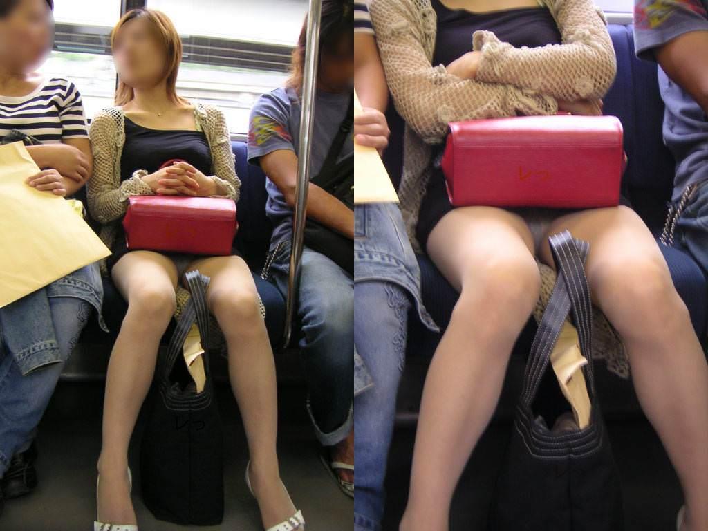 電車のシートに座って油断してる素人娘たちの股間から覗くパンチラ画像 0122