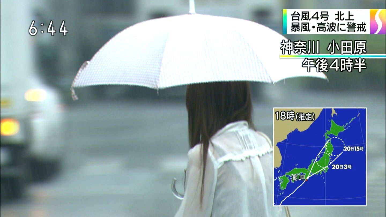 TVニュースの台風中継で映ったガチ素人のパンチラや透けブラエロ画像 2316