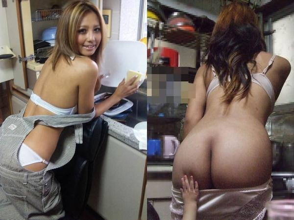下着姿でキッチンに立つ恋人やヨメのおふざけえろ写真