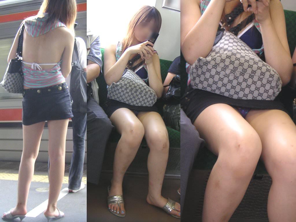 電車のシートに座って油断してる素人娘たちの股間から覗くパンチラ画像 745