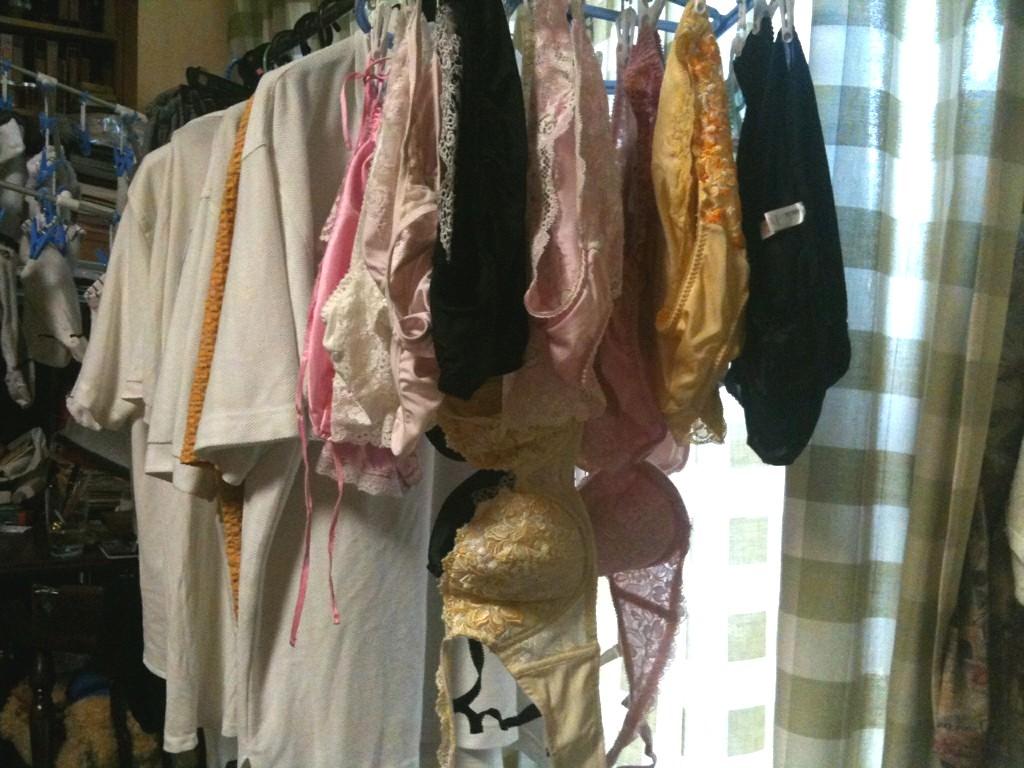 彼女や嫁がガチ使用してるパンティーやブラジャーの洗濯物の素人下着エロ画像 1