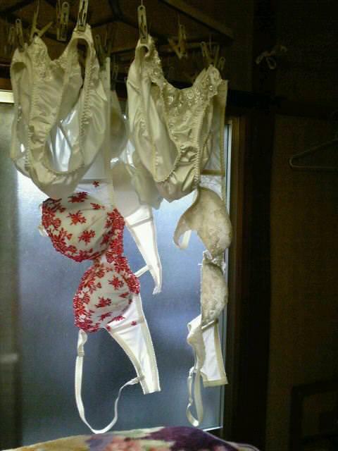 彼女や嫁がガチ使用してるパンティーやブラジャーの洗濯物の素人下着エロ画像 11