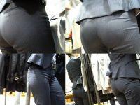 パンツスーツOLの街撮りむっちりお尻のエロ画像
