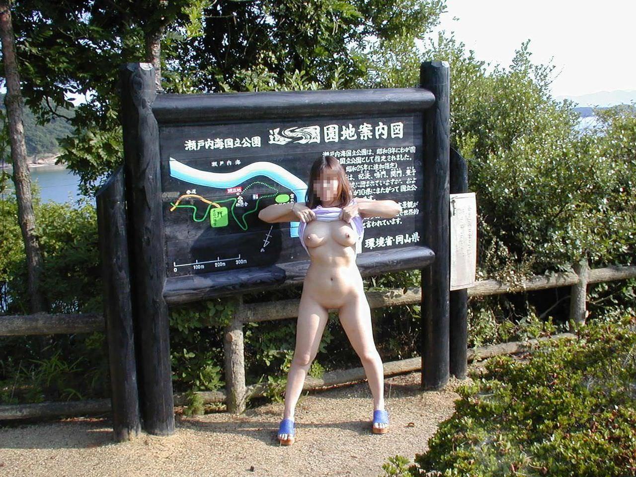 観光スポットでの記念撮影はいつもおっぱい露出してる変態素人女のエロ画像 1279