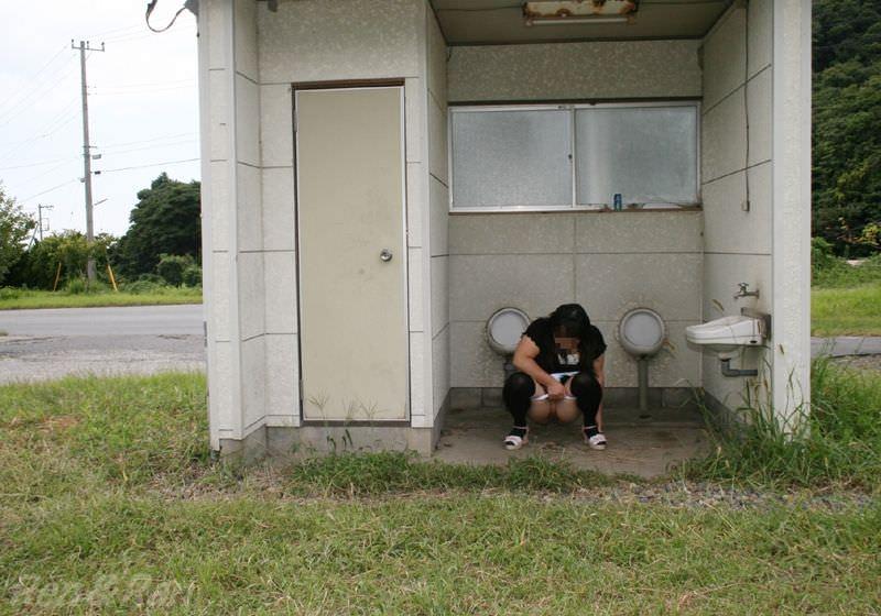 公衆トイレで脱ぎたくなる性癖を持つド変態女の露出エロ画像 2286