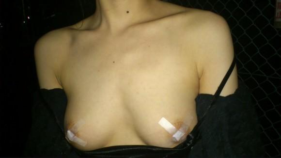 夜道で彼女を全裸にして調教中の変態野外露出エロ画像 693