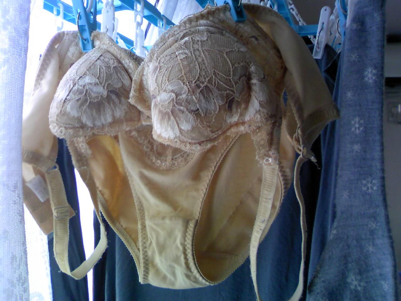 彼女や嫁がガチ使用してるパンティーやブラジャーの洗濯物の素人下着エロ画像 8
