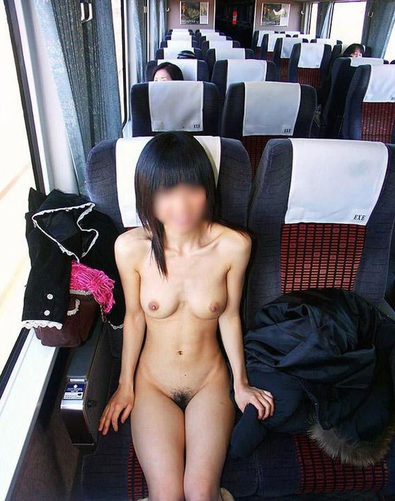 単純な露出では満足出来ずガチ電車内で全裸になってるド変態女のエロ画像 14100