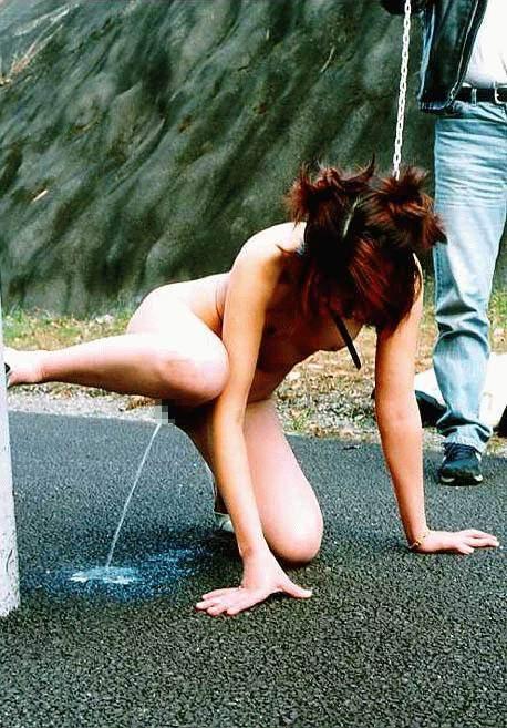 まんこから流れ出るオシッコをまき散らす露出狂女の放尿エロ画像 1451