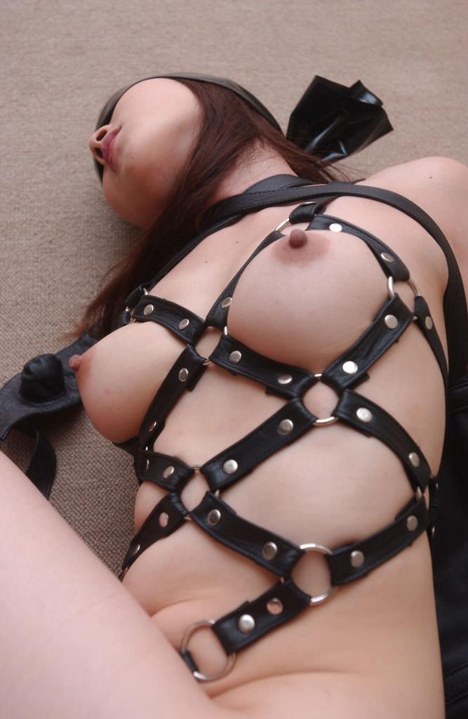 ドM女のおっぱいを強調するように縄で縛ってる緊縛SMエロ画像 21103