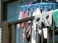 若い素人妻が暮らすベランダに干された洗濯物のブラやパンティーの下着エロ画像