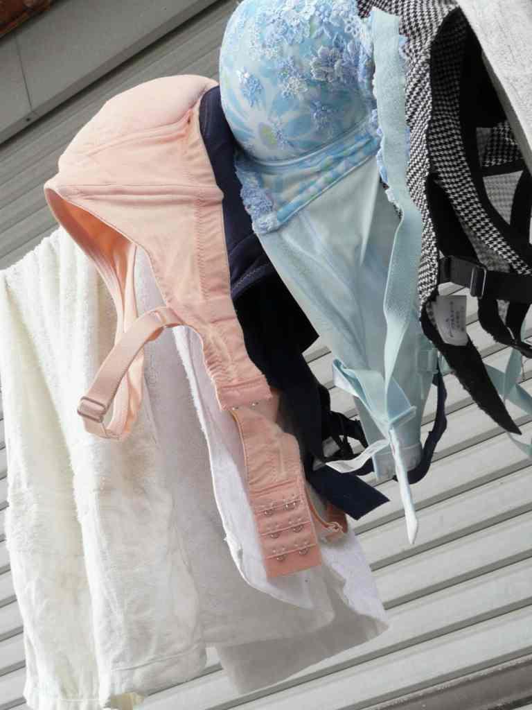 若い素人妻が暮らすベランダに干された洗濯物のブラやパンティーの下着エロ画像 1746